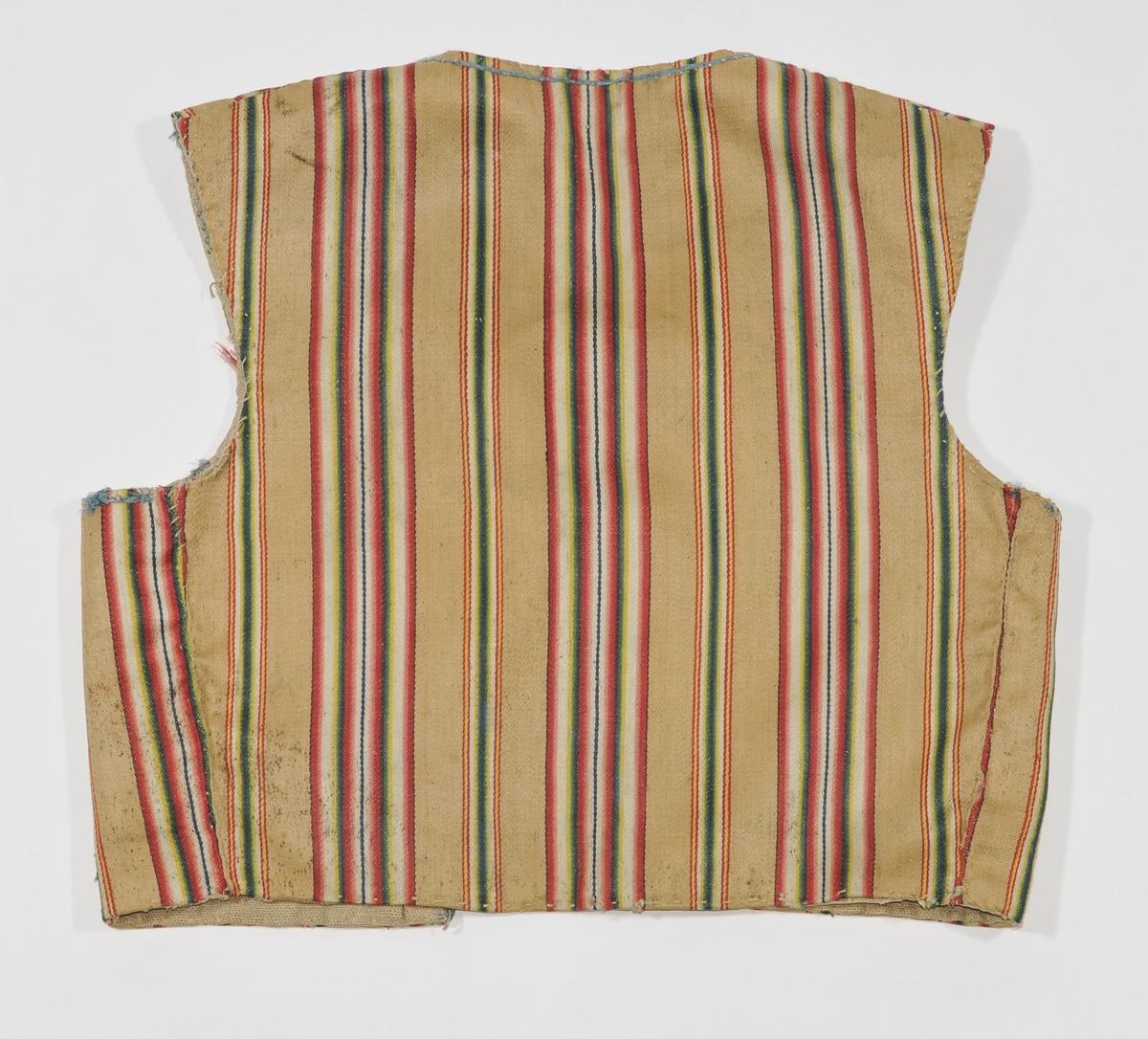 Liv i stripa kallemank, kanta med lyseblåe band rundt ermene, rundt halsen og ned midt framme. Seks støypte messinghekter på kvar side. Ei hekte på venstre innside.