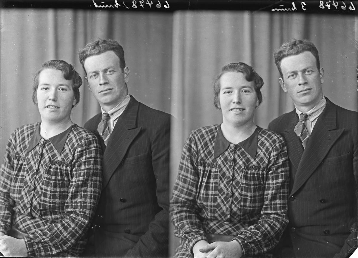Portrett. Ung kvinne og ung mann. Bestillt av Selma Holgersen. Slåttevik. Tysvær.