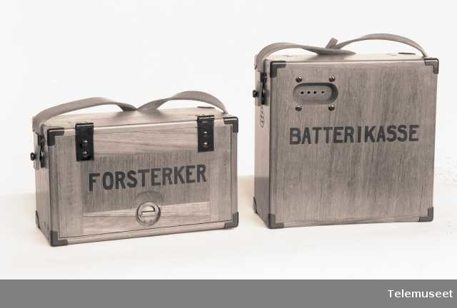 Forsterker med batterikasse, Norge, Elektrisk Bureau.