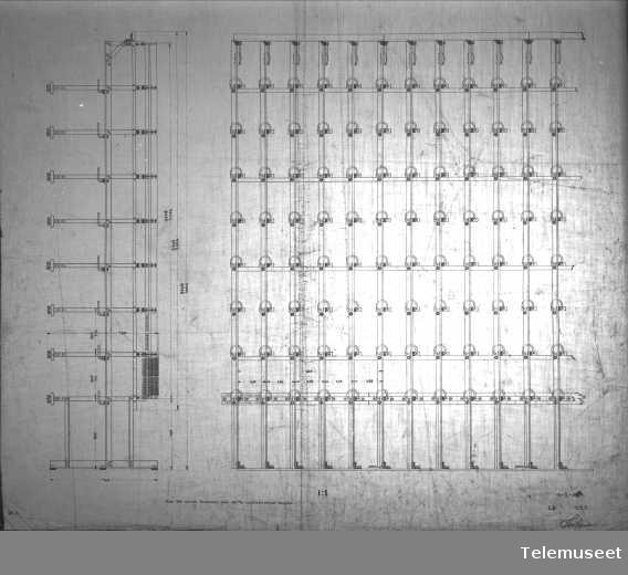 Tegning av telefonsentral, hovedkoblingstativ, Stavanger sept 1914. Elektrisk Bureau.