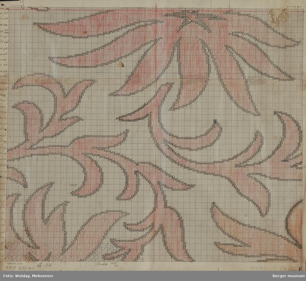 Akantus med blomst (spisse kronblader) (Til møbelstoff)