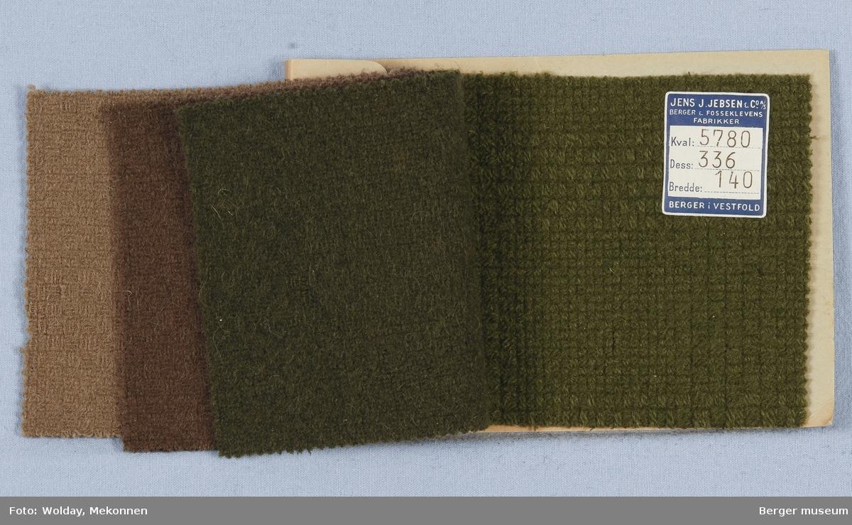 Prøvehefte med 4 prøver Kåpe Kvalitet 5780 Stykkfarget