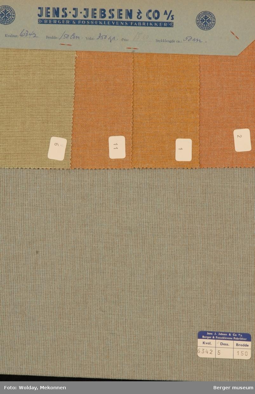 Prøvehefte med 9 prøver Kåpe/jakke Kvalitet 6340 Stykkfarget