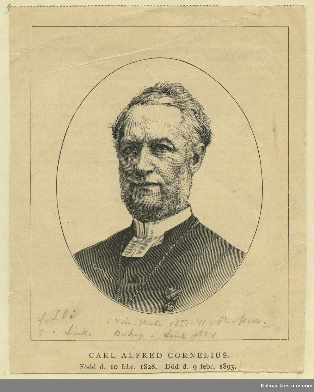 Cornelius, Carl Alfred, biskop i Linköpings stift. Född 1828-02-10, död 1893-02-10. Född S. O i? Död i Linköping. I skola 1837-1841? Professor. Biskop i Linköping 1884.