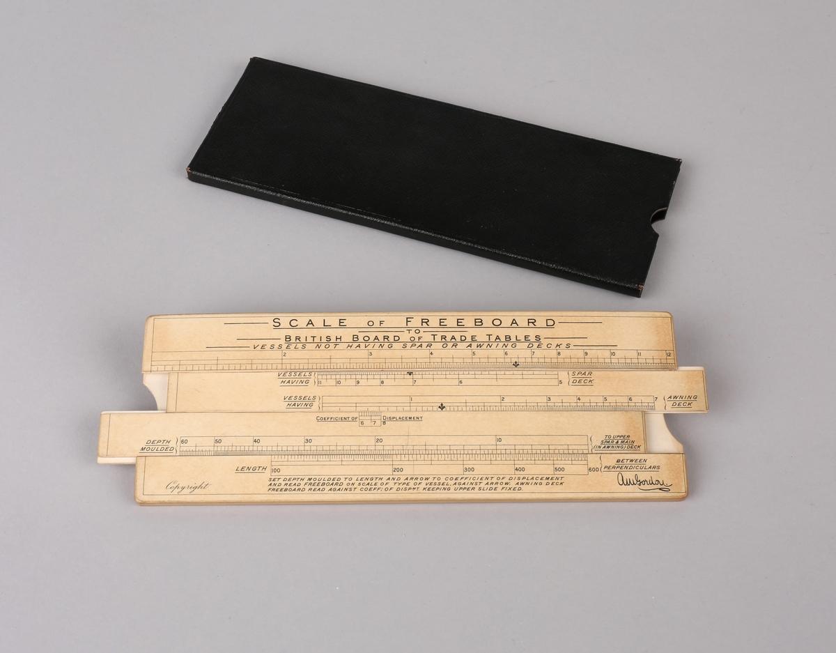 Omregningsstav for beregning av fribord på skip.