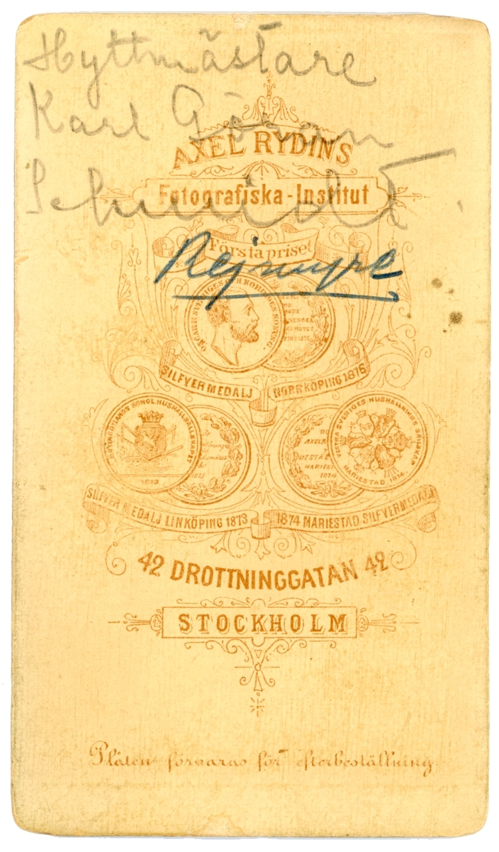 Porträtt av Karl Göran Schmidt. Hyttmästare vid Reijmyre glasbruk. Gift 1852 med Lauretta Sundberg.