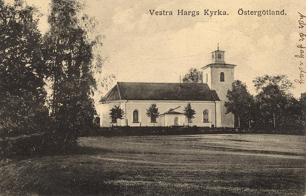 Vykort med motiv av Västra Hargs kyrka i Östergötland.