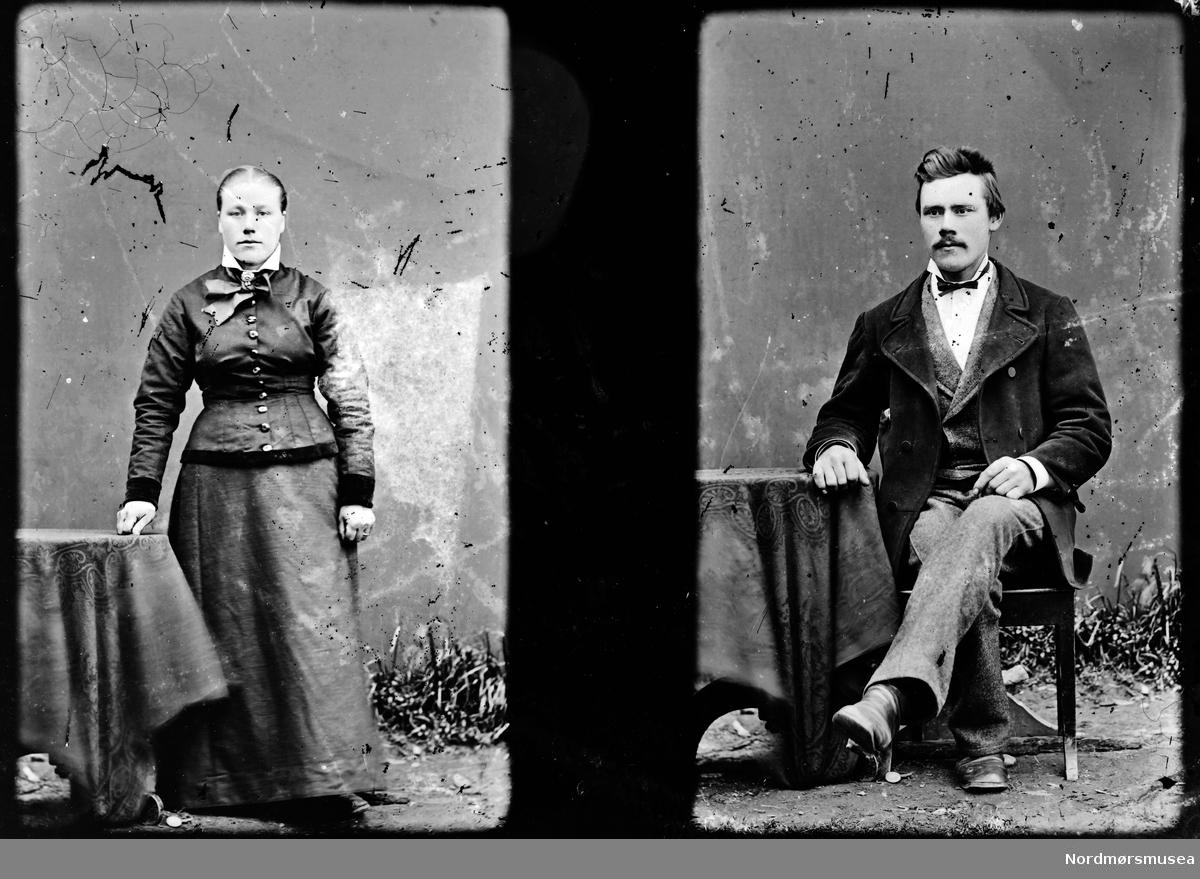 To portrettfoto, det ene av en mann den andre av en kvinne. Trolig fra Sunndal kommune. Fra Sunndal museumslags fotosamlinger.