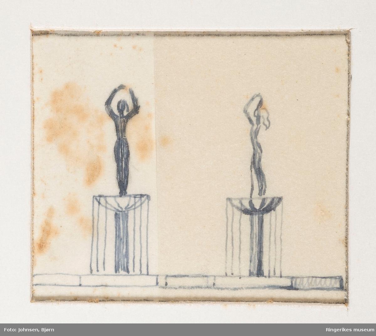 Tegning av Ståle Kyllingstad. To skisser av Ringerikspiken. Skulpuren står nå ved kraftstasjonen nær Hønefossen. Skulpturen ble laget i 1951 og innviet i 1952