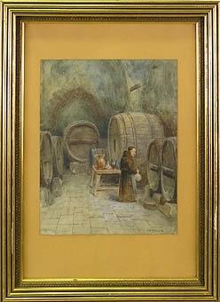 """Enl. Liggaren: """"Tavla, akvarell, munk i källare med vinfat, sign. F.W. Odelmark, å kartong, förgylld ram"""""""