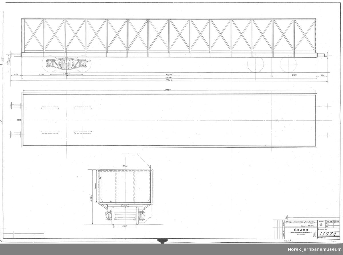 Boggi-kassevogn for koks, 120 m3, last ca 60 tonn, utkast