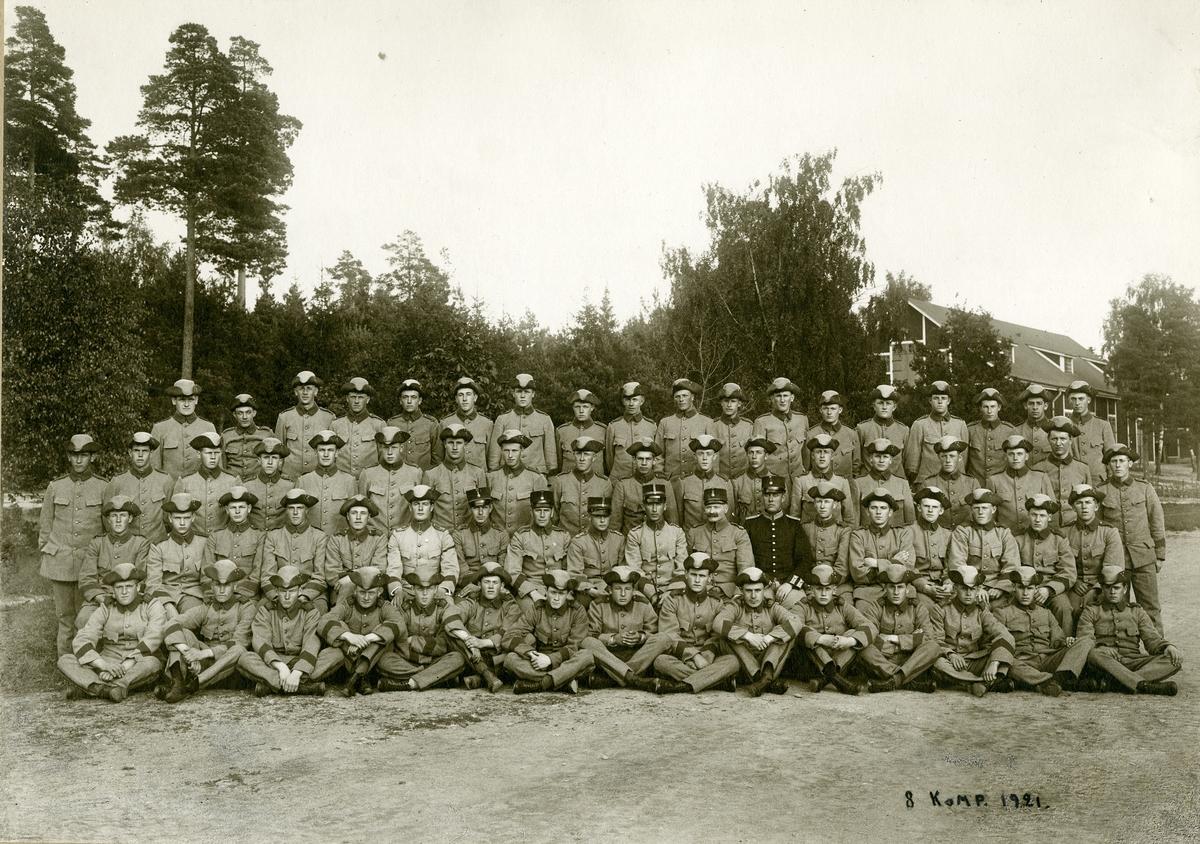 8:e kompaniet vid Västmanlands regemente I 18, 1921.