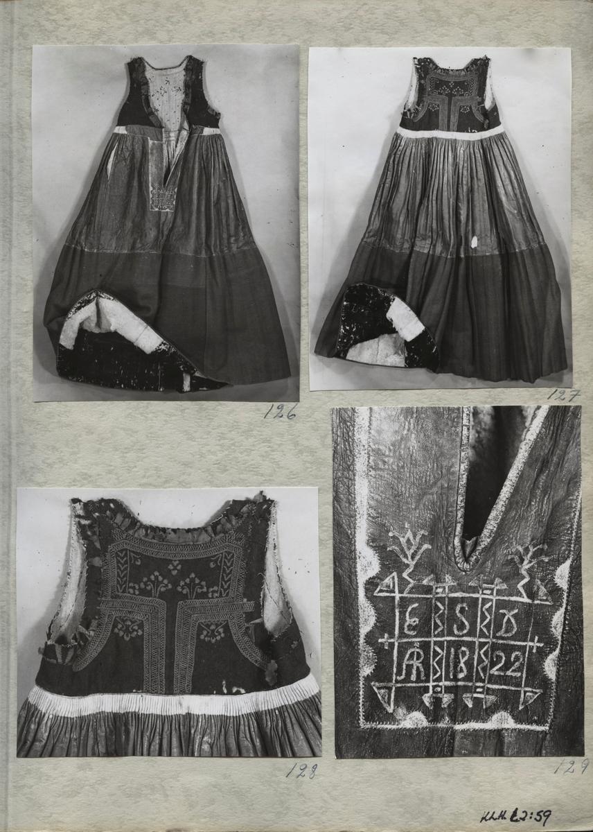 Kartongark med fyra fotografier av skinnklocka.