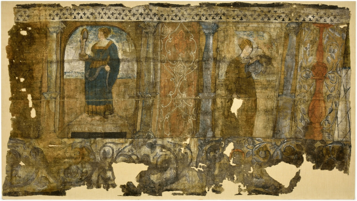 Svit med två av de sju dygderna: Prudentia (klokheten) och Temperentia (måttligheten). Förlagan är från tyskland, utförd av Hans Burgkmair d.ä. (1473-1531). Nedtill syns rankor och groteskbård.