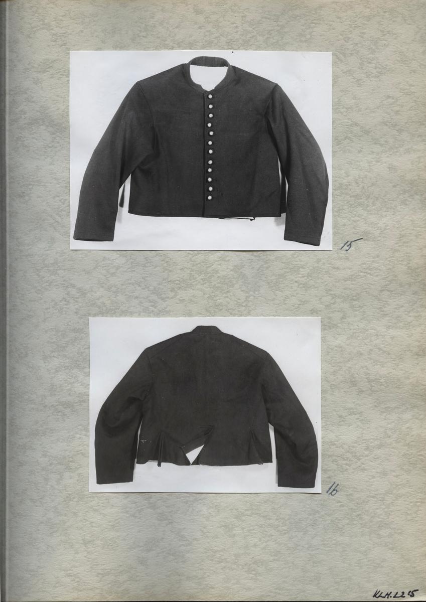 Kartongark med två fotografier av jacka.
