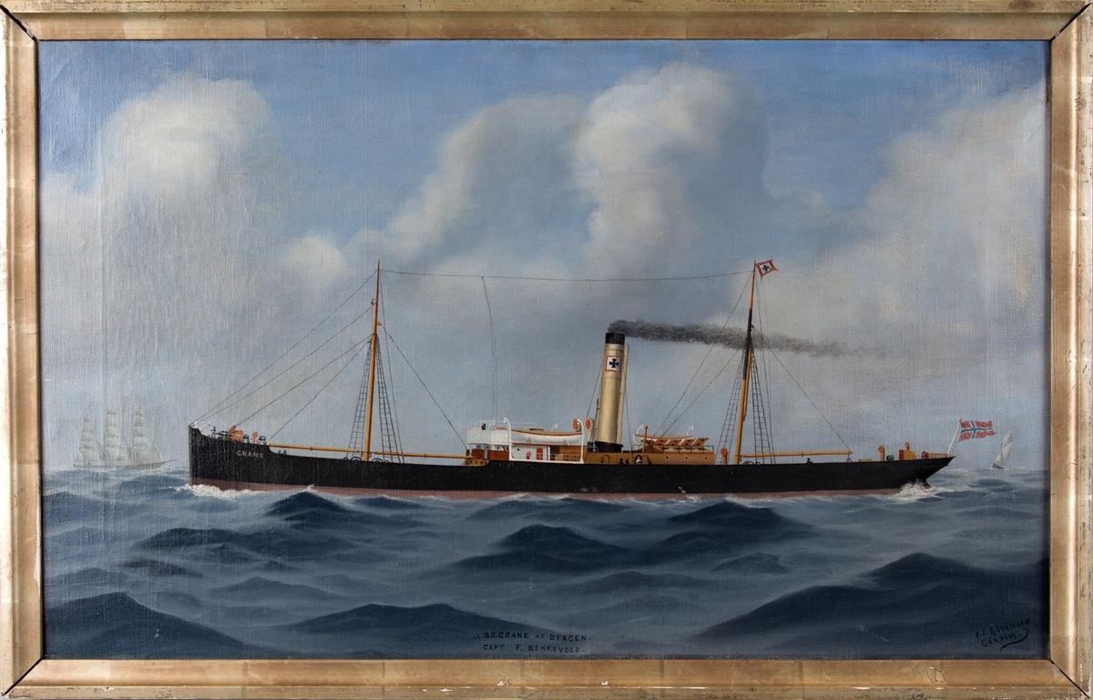 Dampskipet GRANE under fart i åpen sjø. Skorsteinsmerke til J. C. Giertsen/Schjelderup og Schøtt.