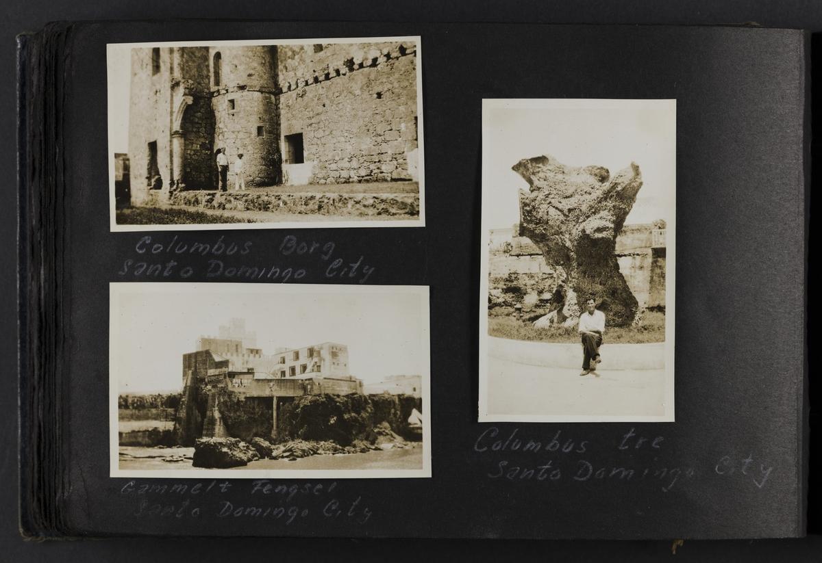 Columbus Borg, Santo Domingo City (øverst til venstre). Gammelt fengsel, Santo Domingo City (nede til venstre). Columbus tre, Snato Domingo City (til høyre).