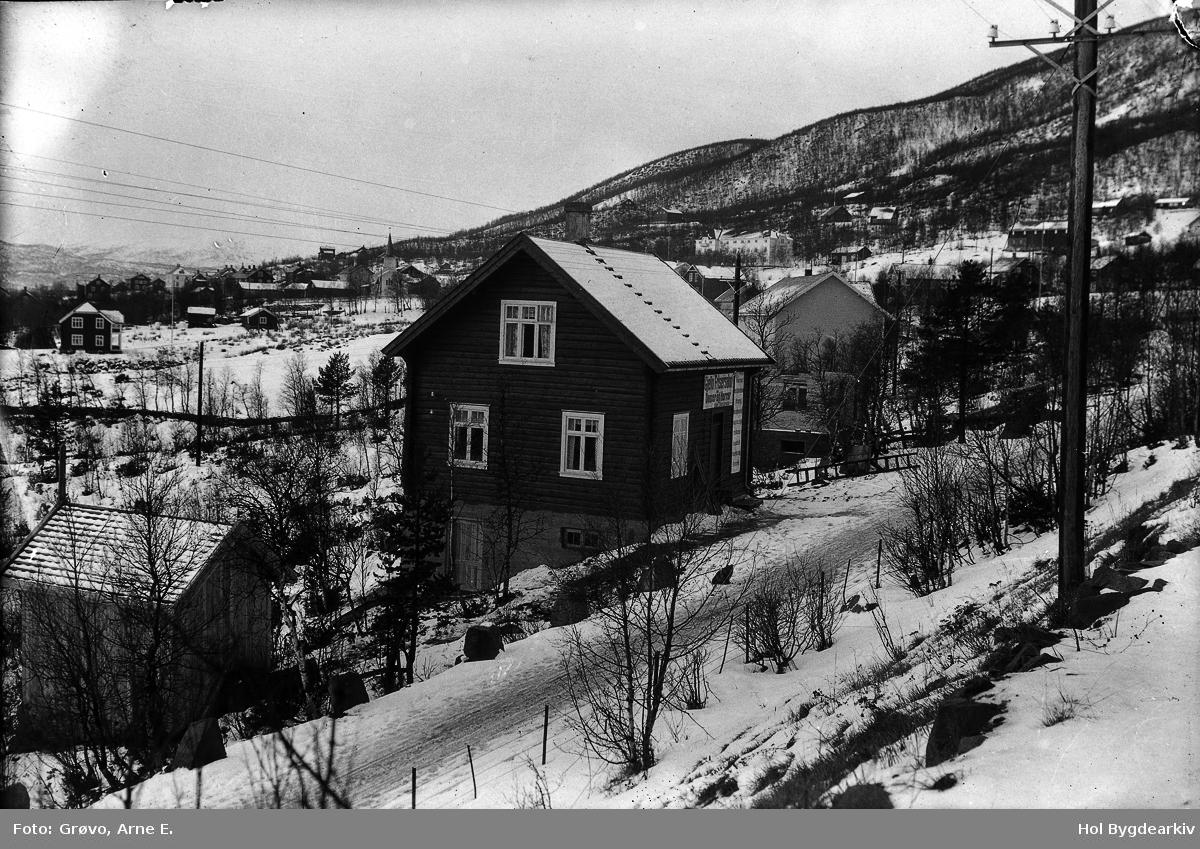 Geilo, landskap, tømmerbygning, frisørsalong, telegrafstolpe