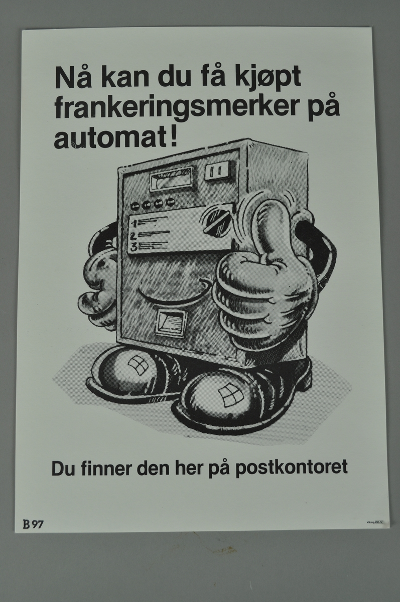 Informasjonsplakat. Rektangulær plakat med tekst og bilde i svart/hvitt.