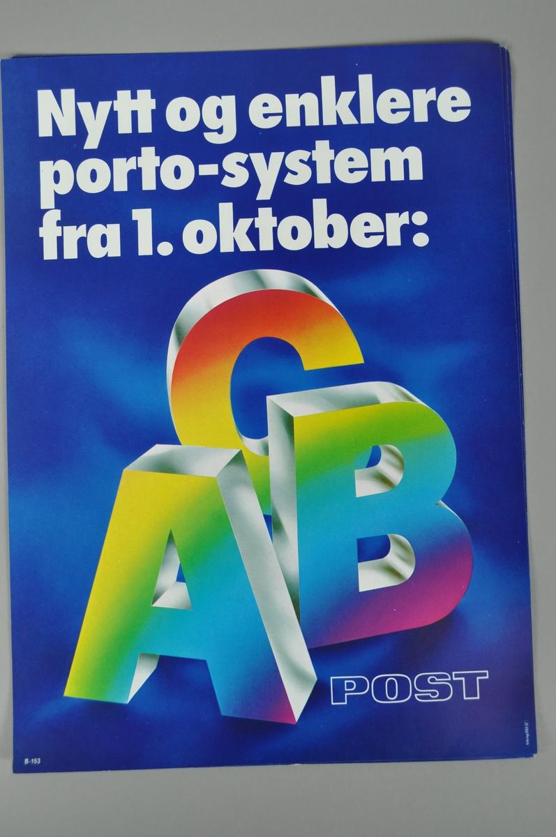 Informasjonspklakat. Rektangulær med tekst i flere farger. Mørk blå bakgrunn