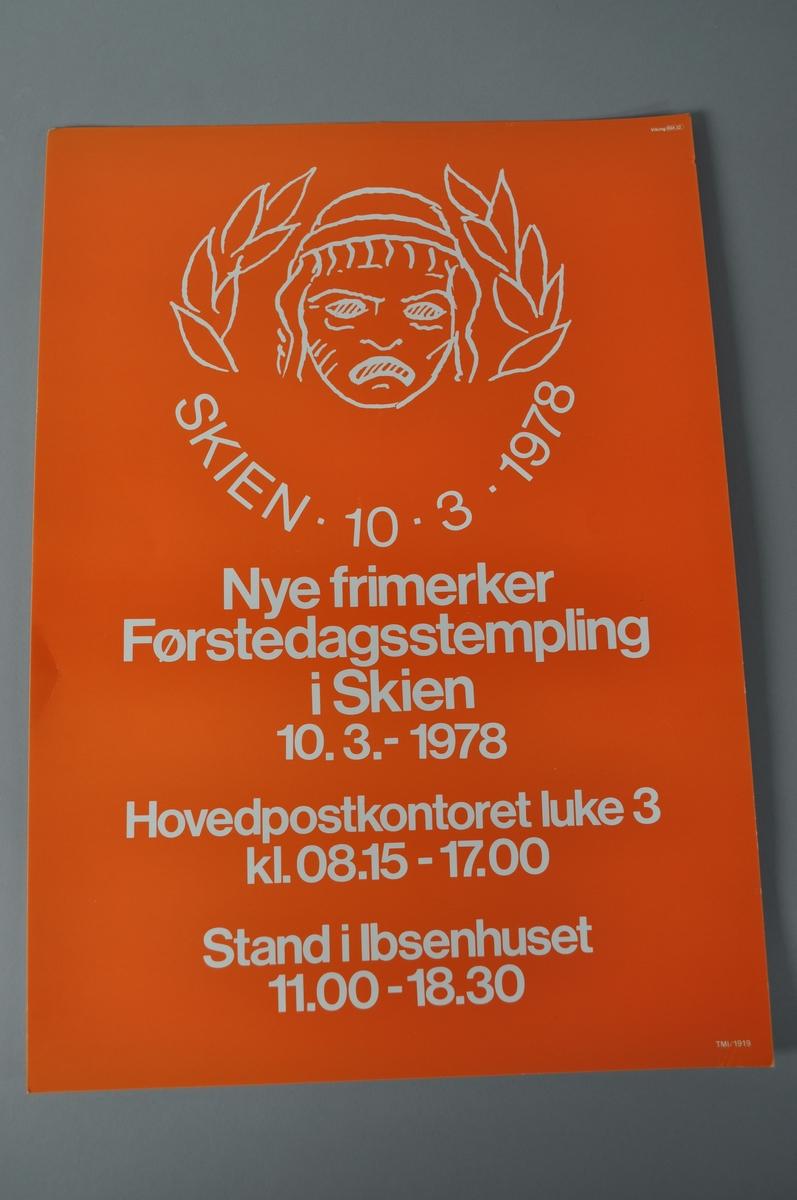 Reklangulær plakat med tekst og bilde. Rød bakrunn.