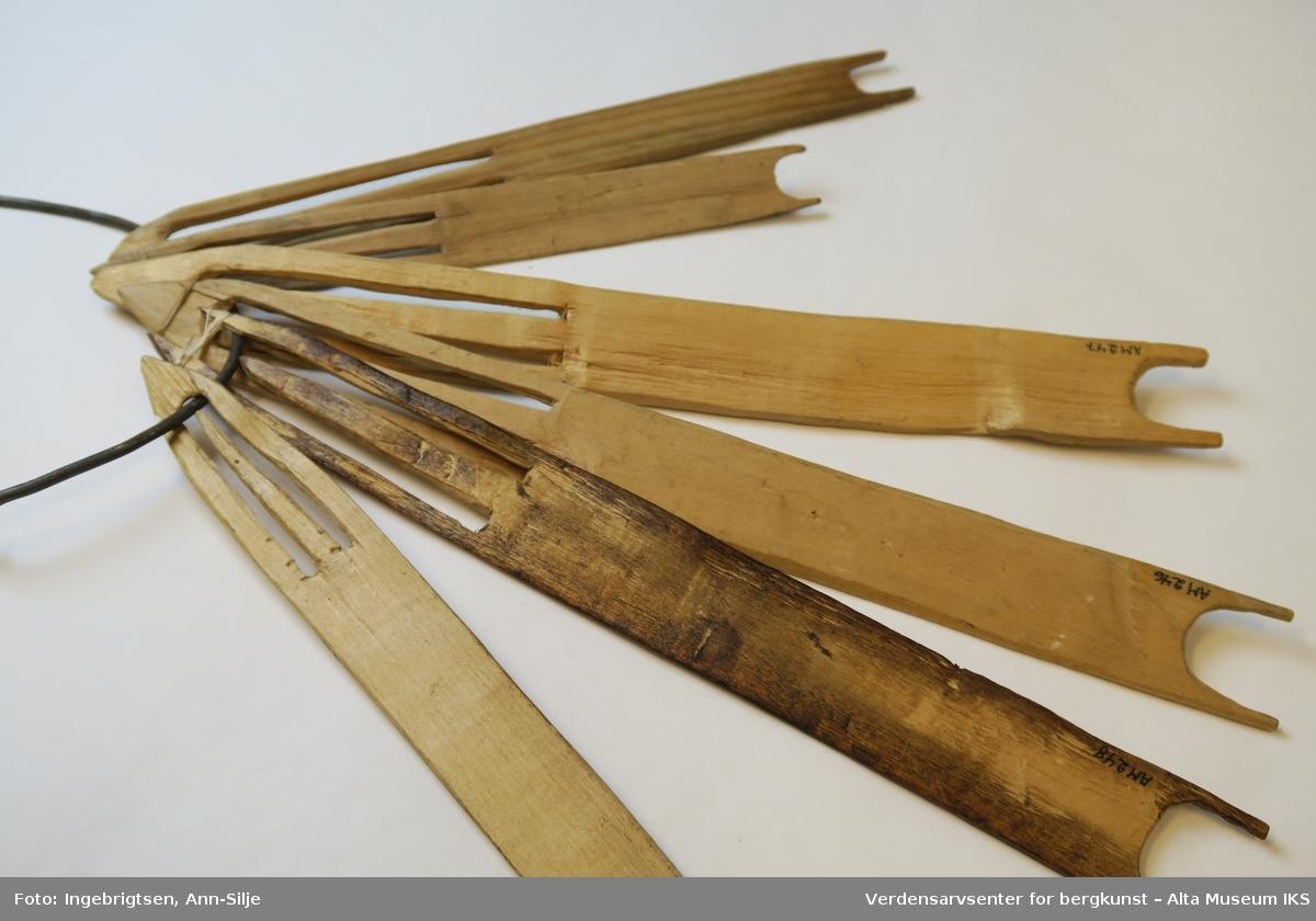 Hjemmelagde garnnåler (bøtenåler) i ulike størrelser, de største til kveitegarn og de mindre til smågarn.