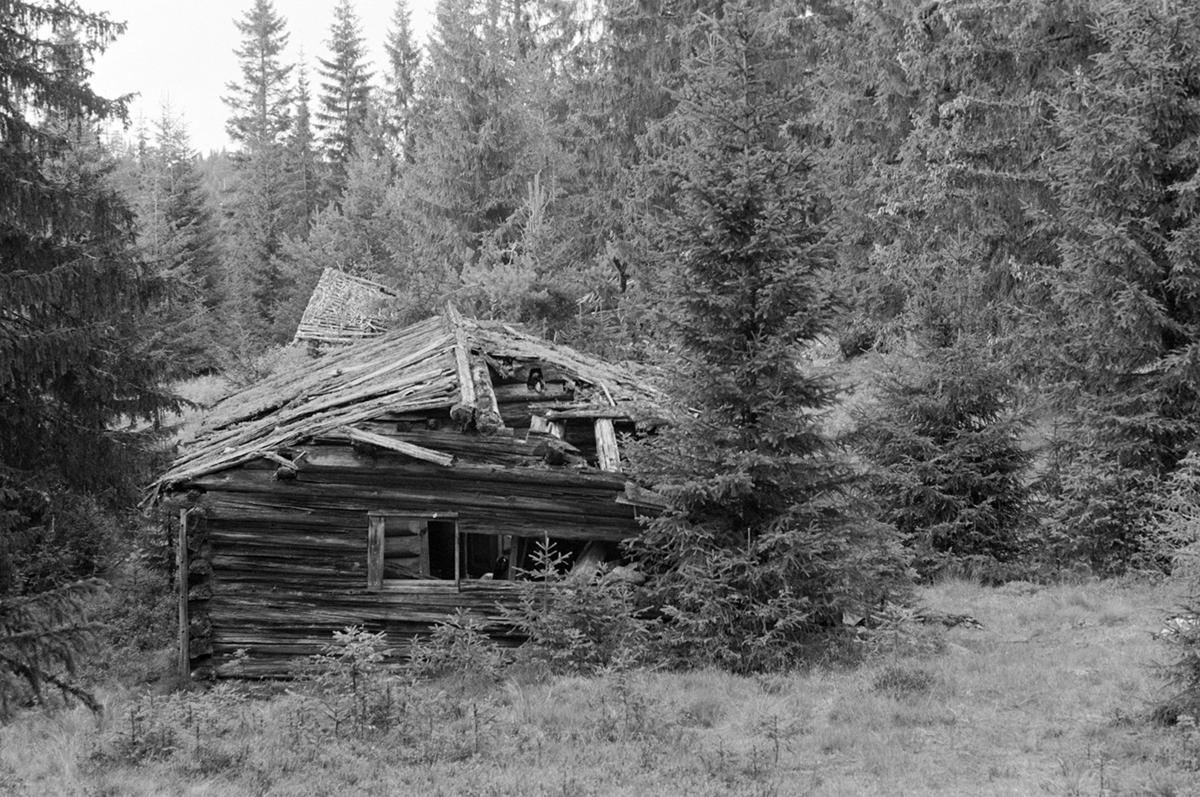 Veslesetra, Mæhlum, størhus, forfall, Romedal allmenning seterbruk på Hedmarken,