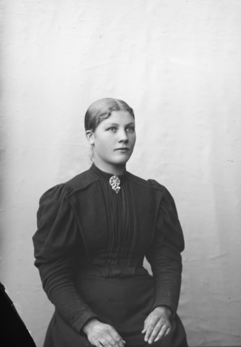 Portrett, kvinne som sitter, brystbilde. Rønnaug Kalterud eller Kaltrud f 1876, Nord-Fron