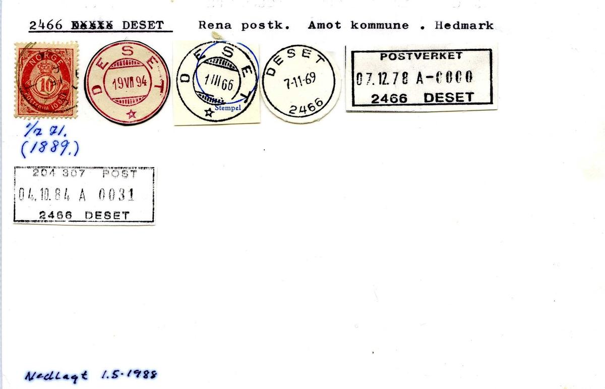 Stempelkatalog, 2466 Deset. Rena postkontor, Åmot kommune, Hedmark fylke.