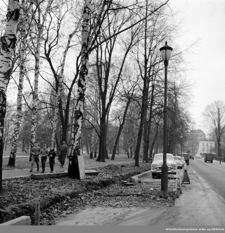 Wergelandsveien, utvidelse. November 1958