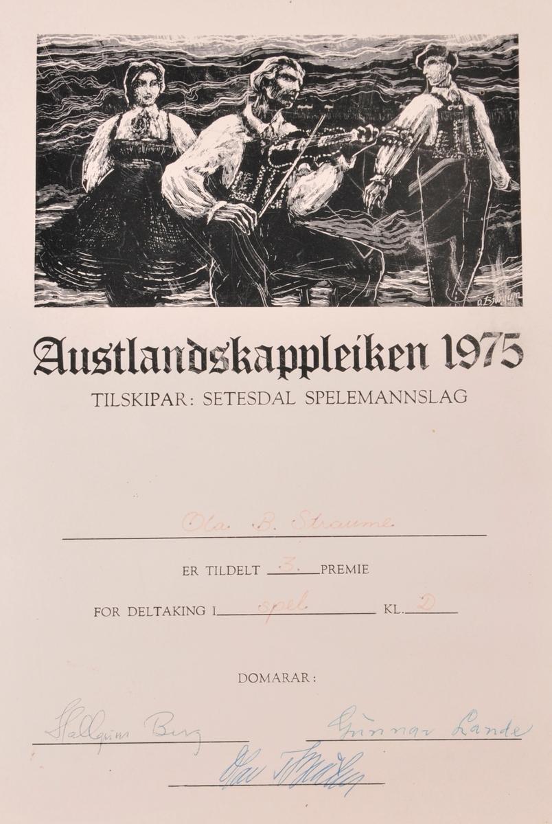Diplom frå Austlandskappleiken 1975.