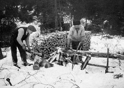 Bilde viser vedproduksjon i Nordmarka vinteren 1919.