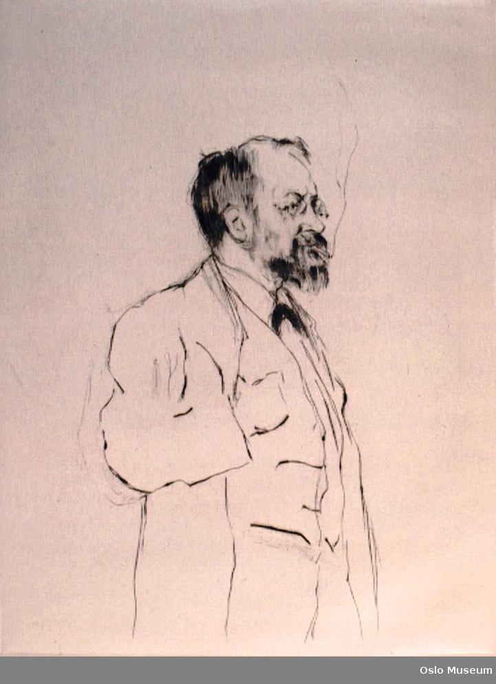 portrett, mann, stående knebilde