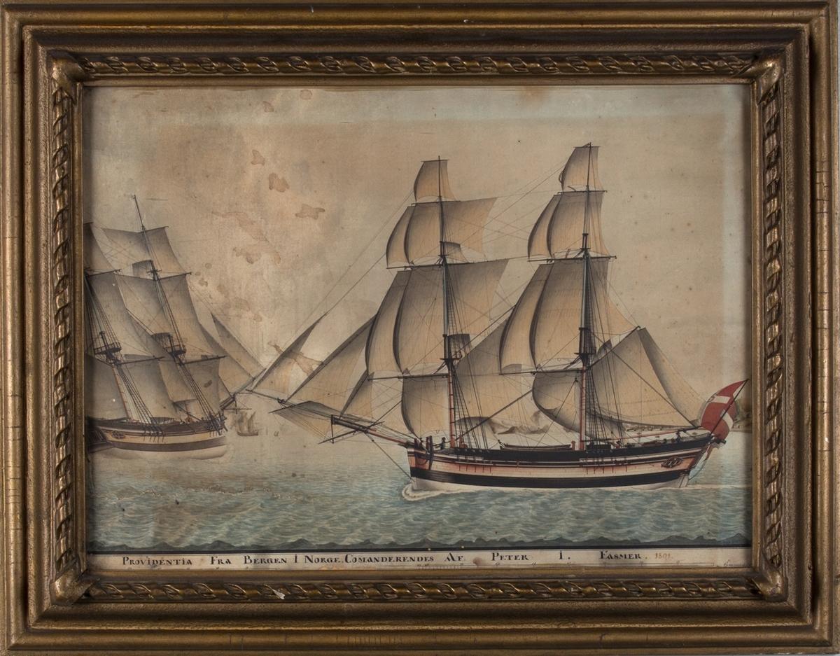 Skipsportrett av brigg PROVIDENTIA på åpent hav med fulle seil. Dannebrog flagg med monogram sees akter. Samme skipet sees også aktenfra til venstre i motivet.