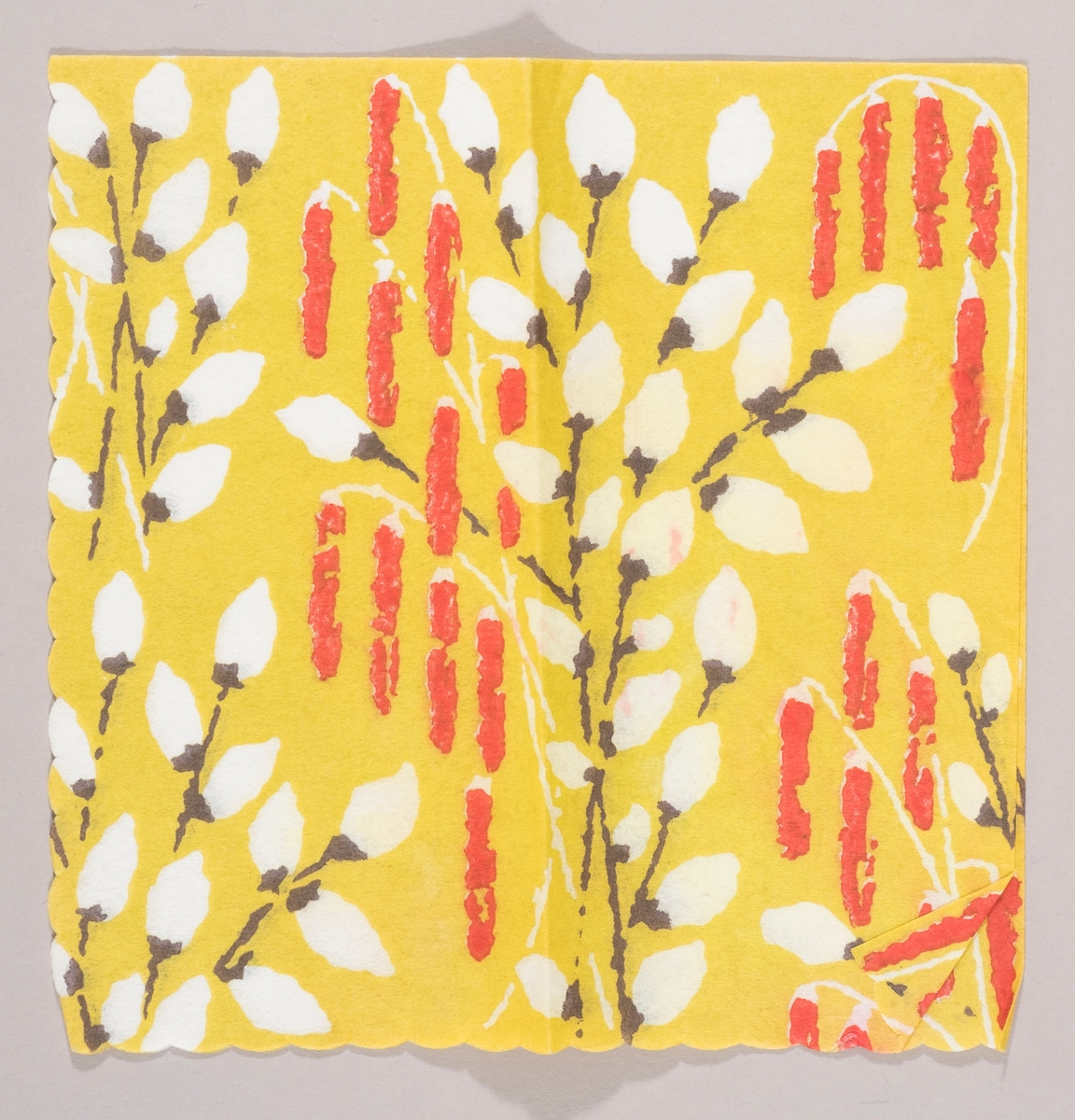 """Hvite """"Gåsunger"""" og røde rakler på en gulgrønn bakgrunn."""