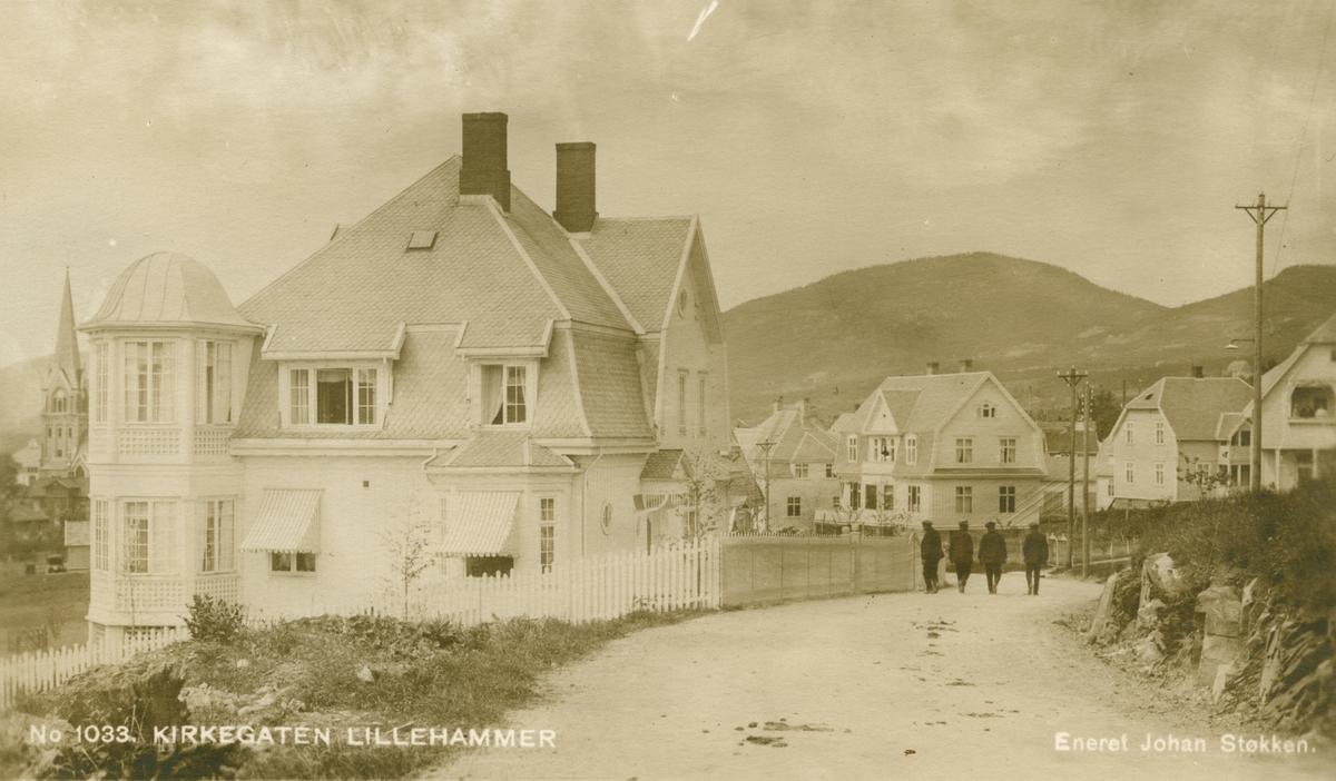 Repro: Kirkegaten, Lillehammer. bebyggelse, postkort.