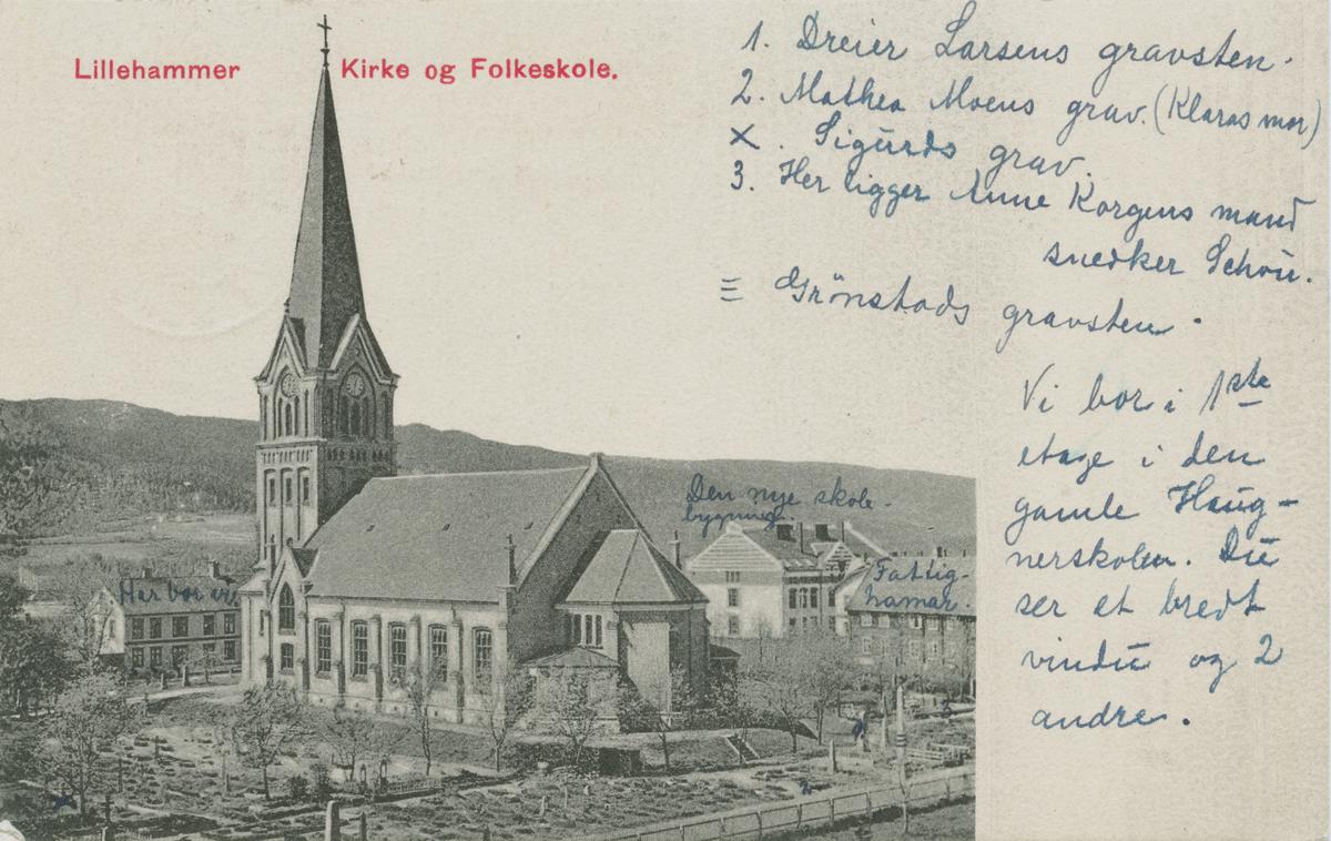 Repro: Lillehammer kirke og folkeskole, postkort, fram og bakside.