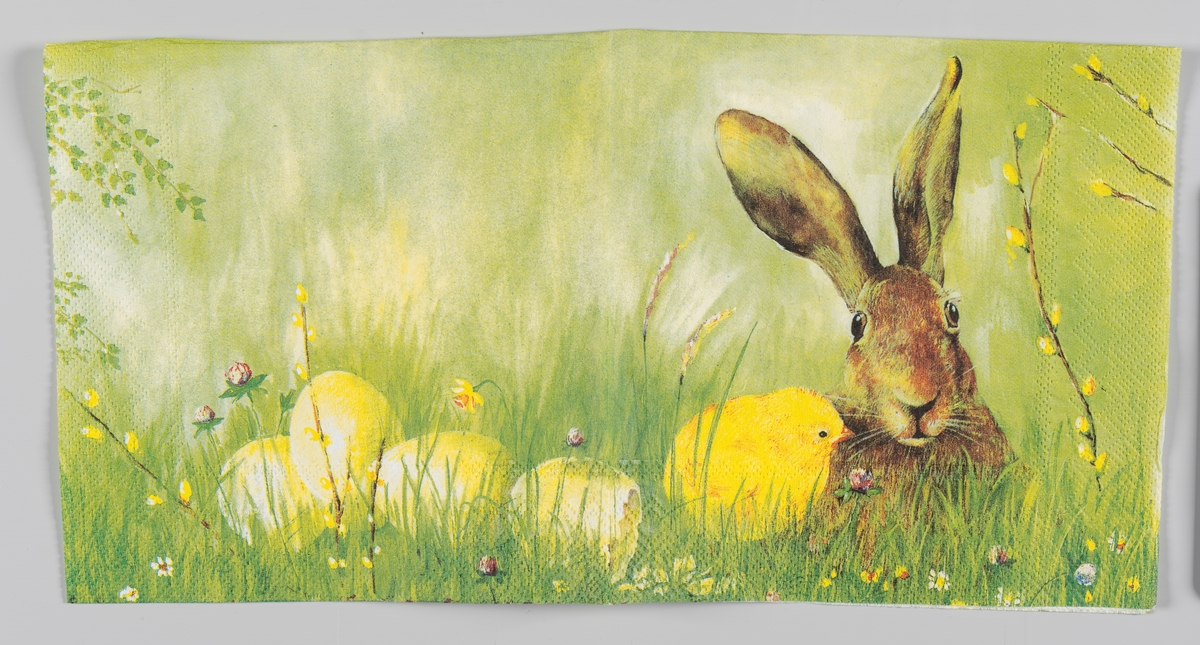 """En hare og en kylling, skallet av et egg og tre andre egg, som ligger i høyt gress. Påskeliljer, grener med """"gåsunger"""" og forskjellige blomster i gresset."""