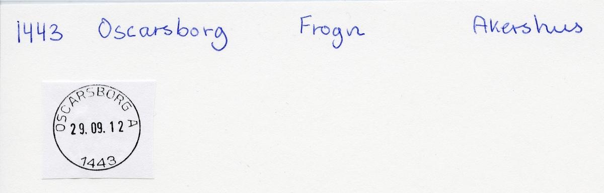 Stempelkatalog   1443 Oscarsborg, Frogn kommune, Akershus (Feltpostkontor nr. 21, 14.4.1905)