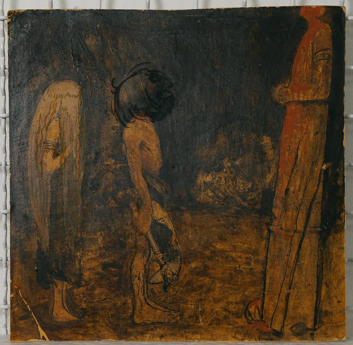 """Målningen föreställer en ung kvinna och en ung man (eller troll, gestalten påminner något om Vill-Vallareman) som står vända mot en gudabild, alla avbildade i profil. Kvinnan som står till vänster har långt ljust hår, är klädd i en mörk dräkt och är barfota. Mannen som har halvlångt mörkt hår står strax till höger om henne och är endast klädd i ett höftskynke av päls. I handen håller han en stenyxa. Båda står vända mot höger där en hög gudabild står med knäppta händer i brösthöjd. Något som liknar blod har runnit ner längs figuren och ner på marken framför den. Ansiktet ligger utanför bilden. Bakgrunden är mörk och otydlig, men något som liknar en stor sten ligger till höger. Färgskalan går i svart, brunt och gulbrunt med ett litet inslag av rött. Genomförandet är mycket skissartat. Bauer har  huvudsakligen använt sig av oljefärg men också tusch och eventuellt gouache på vissa ställen. Se även JM 21431.  Baksida: På baksidan (se bild) finns en skiss av en ung man (påminner om personen på framsidan) med bar överkropp och bara ben. Han lutar sig åt vänster, fram emot några stora stenblock som utgör hela vänstersidan i verket. Skissen är troligen utförd i utblandad tusch med konturlinjer i outspädd tusch. På vissa ställen ser man linjer i blyerts. Gråskala. Mycket skissartat genomförande. Upptill på bildytan sitter två lappar med siffrorna """"231"""" och """"149"""".  På vänstra ramlisten sitter en lapp med siffran """"8"""" och längst till höger på övre ramlisten och strax nedanför på pappen finns oläslig text i blyerts.  Montering/ram: Brun träram."""