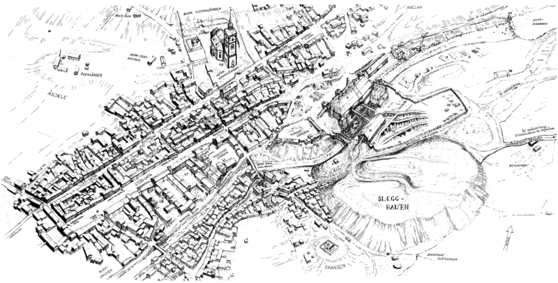 The urban landscape of Røros in the mid of the 19th century. Illustration by Sverre Ødegaard.