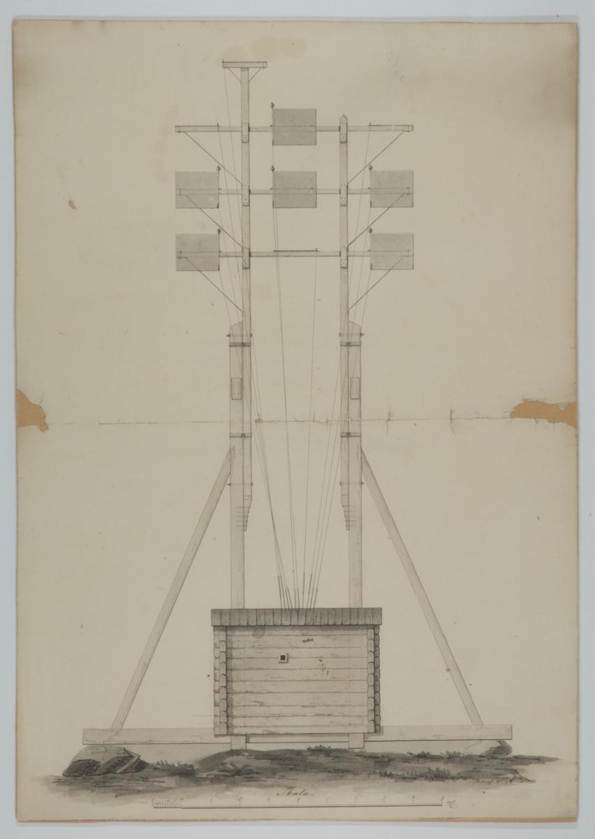 Optiska telegrafen, frontvy. Lavering från 1838 av Fredrik Akrell.