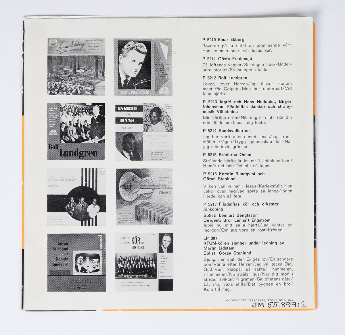 """EP-skiva av svart vinyl med lila pappersetikett med silverfärgad tryckt text, omslag av blankt papper. Omslaget är tryckt i färgerna orange, svart och vitt. På framsidan finns svart tryckt text, ett svart-vitt fotografi av sångkören och ett svart-vitt porträttfotografi av en man. Baksidan innehåller en förteckning och fotografier över skivbolagets senaste skivor.  JM 55899:1, EP-skiva, Hememts Härold, P5217, EP-45  1. Jubla nu mitt snälla hjärta (Emil Gustafson) 2. Jag väntar en morgon (Egon Zandelin) Sång av Filadelfias kör och orkester, Jönköping Solist: Lennart Bengtsson Dir.: Bror-Lennar Engström  1. Om jag vore en röst (Fr. eng. Ivar Lindestad - J. Calvin Bushey) Solist: Lennart Bengtsson 2. Hell Jesus utav Betlehem! (E. Perronet - James Ellor) Sång av Filadelfias kör och orkester, Jönköping Dir.: Bror-Lennart Engström  Text runt pappersetiketten: """"Alla rättigheter förbehållas producenten resp. ägaren till det inspelade verket * Offentligt utförande, radiosändning och kopiering av denna skiva utan auktorisation förbjudes""""  JM 55899:2, Omslag """"GODVILS CIVILTRYCKERI, Stockholm 1963"""""""