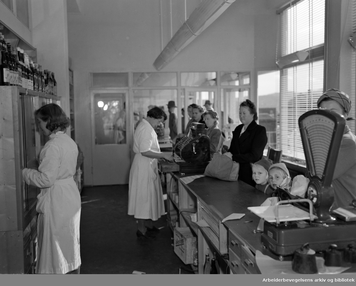 Grorud Samvirkelag. Nybygget. Interiør. September 1950