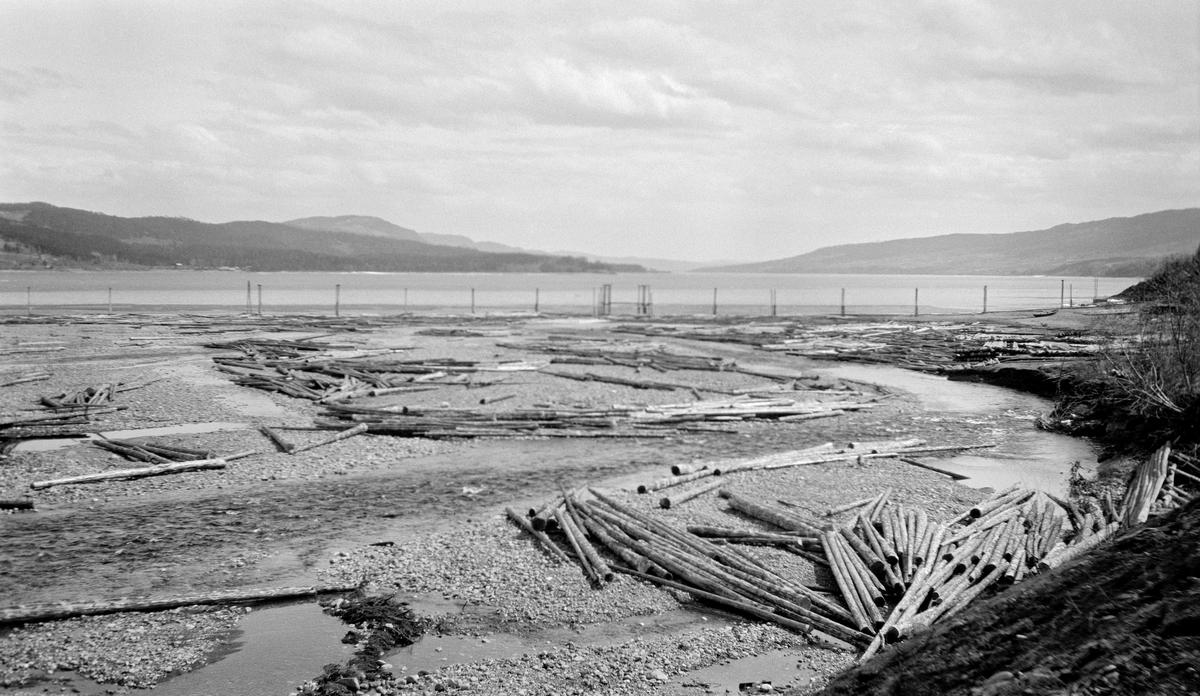Fåberg lense, ved elva Rindas utløp i Mjøsa ved Vingrom.   Fotografiet er tatt ved lavvann våren 1929.  På dette tidspunktet var det innlensete området langt på veg tørrlagt, og en del fløtingsvirke fra forrige sesong lå på grusen som sommerstid var botn.  Bakenfor skimter vi pælene, som markerte lenseområdets ytterkanter.  I bakgrunnen ser vi mot mot Biristrand på høyre side og mot Brøttum på venstre side.  Dette elveløpet kommer fra området sør for Rindåsen, i grensetraktene mellom Fåberg og Vestre Gausdal.  Elva renner blant annet gjennom Saksumsdalen før den renner ut i Mjøsa ved garden Rindal.  Elveløpet er drøyt to mil langt og har et nedslagsfelt på cirka 95 kvadratkilopmeter, hvorav en god del er skogbevokst.  Fløtingsreglementene for Rinda fra 1899 og 1911 er gjengitt under fanen «Opplysninger».
