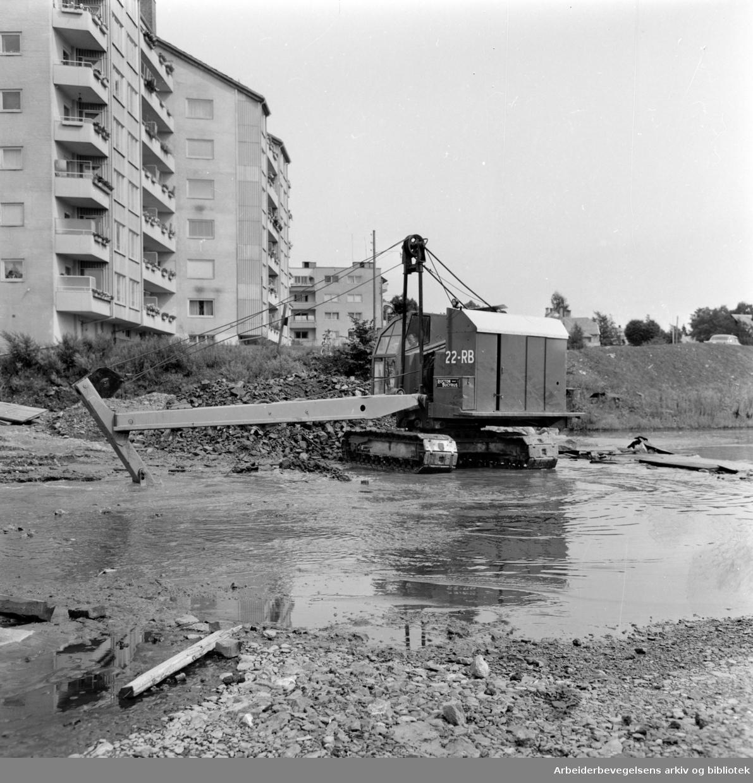 Frognerkilen. Gravearbeid. Juli 1958