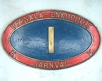 Skylt från ångloket UEJ 1 Stockholms Gasverk Nº 5 (1934) NOHAB Nº 985  Modell/Fabrikat/typ: Blå mitt och röd kant