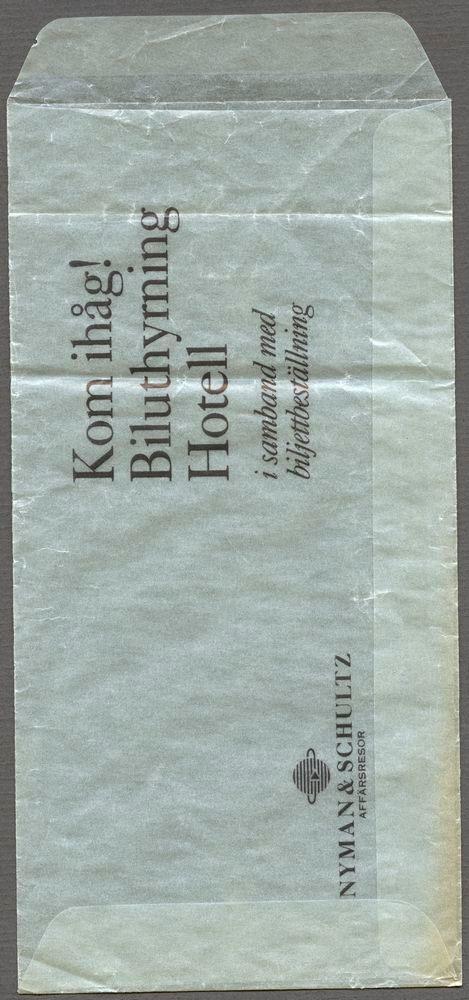 """Transparent kuvert av papper med den tryckta texten: """"NYMAN & SCHULTZ AFFÄRSRESOR Kom ihåg! Biluthyrning Hotell i samband med biljettbeställning""""."""