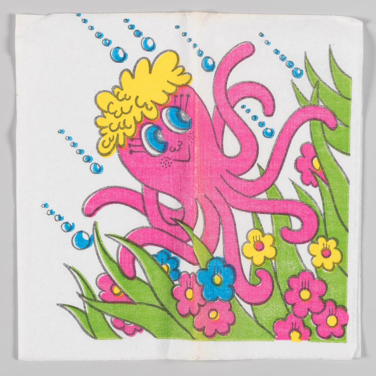 En rosa blekksprut med gult hår beveger seg runt blant gress og blomster.