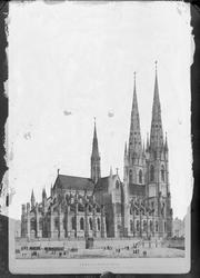 Reproduktion - litografi, Uppsala domkyrka, tänkt utseende e